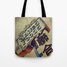 United Foods Neon Sign, Chinatown Tote Bag