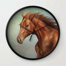 Drawing portrait  horse Wall Clock