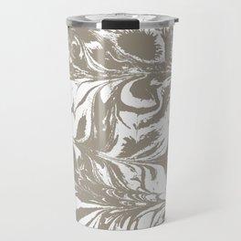 Spilled ink watercolor japanese suminagashi grey and white modern yoga zen art decor Travel Mug