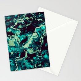 Neon cyan Glow splash on black Liquid paint art Stationery Cards