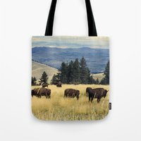 parks Tote Bags featuring National Parks Bison Herd by BravuraMedia