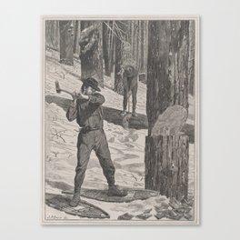 Vintage Illustration of a Lumberjack (1871) Canvas Print