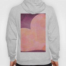Pantone Conch Shell Pink 15-1624 Heart in Corner Purple Watercolor Abstract Art Hoody
