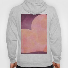 Pantone Conch Shell Pink 15-1624 Heart in Corner Purple Watercolor Abstract Art Hoody