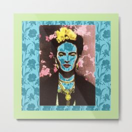 Frida Kahlo in Neon Metal Print