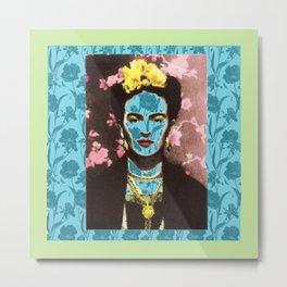 Frida Kahlo in Neon Metal Print