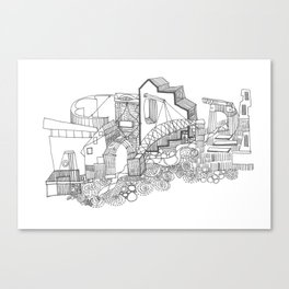 Black And White Building Canvas Print