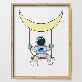 Are You A Fan Of Astronomy? An Astronaut Dreamer? Astronaut Riding A Swing Under The Moon T-shirt Serving Tray