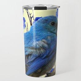 BLUE BIRD & BLUE MORNING GLORIES ART FROM  SOCIETY6 BY SHARLESART. Travel Mug