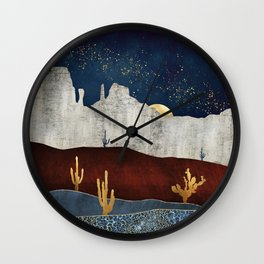 Moonlit Desert Wall Clock