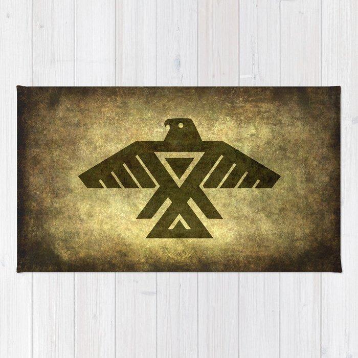 Symbol Of The Anishinaabe Ojibwe Chippewa On Parchment Rug By