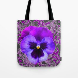 SPRING PURPLE PANSY FLOWER &  DELICATE PATTERN Tote Bag