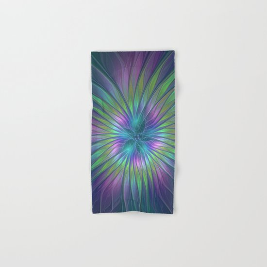 Colorful and luminous Fantasy Flower, Abstract Fractal Art Hand & Bath Towel