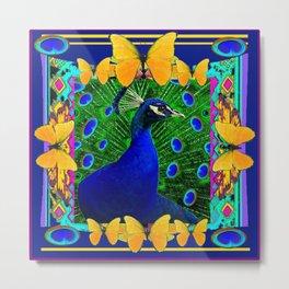 Decorative Blue Peacock & Yellow Butterflies Art Metal Print