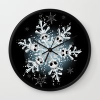 jack skellington Wall Clocks featuring The Emotion of Jack Skellington by Jordi Hayman Design