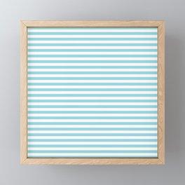 Pale Sky Blue & White Horizontal Stripe Framed Mini Art Print