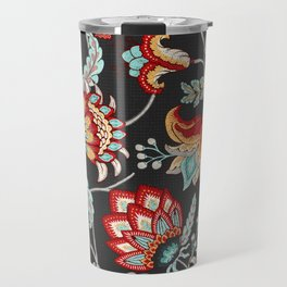 Red and Light Blue Indian Floral in Dark Gray Travel Mug
