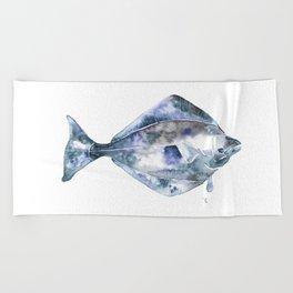 Flat Fish Watercolor Beach Towel