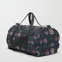 Hydrangea and Anemones Floral Patten Dark Duffle Bag