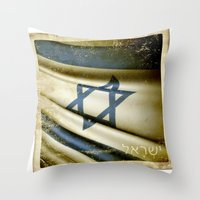 israel Throw Pillows featuring Israel grunge sticker flag by Lulla