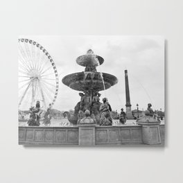 Paris Fountain Metal Print