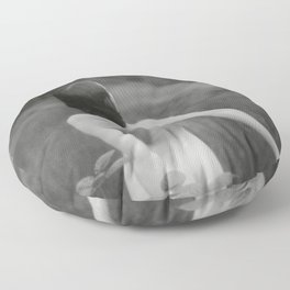 Nude, Out of the Sunflower Fields, Auvers-sur-Oise, France black and white photography Floor Pillow