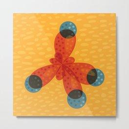 Orange Methane Molecule Metal Print