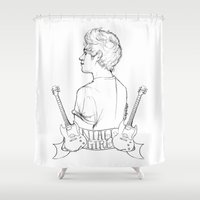 niall Shower Curtains featuring Niall Girl by Ashley R. Guillory