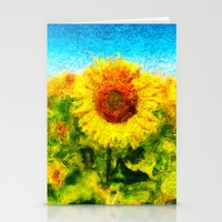 sunflowers Stationery Cards featuring sunflowers by KrisLeov