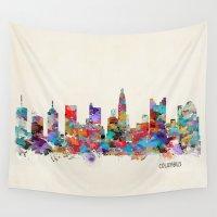 ohio Wall Tapestries featuring Columbus Ohio skyline by bri.buckley