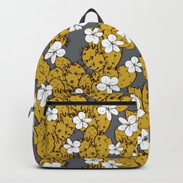 cactus with flowers sketch golden mustard, black contour on Gray background. simple ornament Backpack