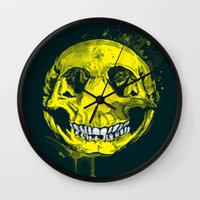 be happy Wall Clocks featuring happy by Steven Toang