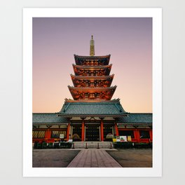 Five-Storied Pagoda at Sensoji Temple Fine Art Print Art Print