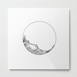 Naked woman in a circle Metal Print