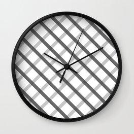 Gray White Square Pattern Geomeric Wall Clock