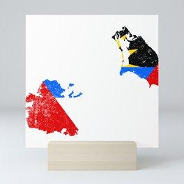 Distressed Antigua and Barbuda Map Mini Art Print