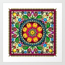folk flowers collage Art Print