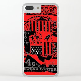 Lincoln in red with flag Clear iPhone Case