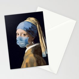 Girl with a Pearl Earring with Mask Stationery Cards