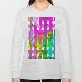 fork and spoon pattern with colorful painting abstract background Long Sleeve T-shirt
