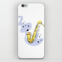 saxophone iPhone & iPod Skins featuring Saxophone Sax by shopaholic chick