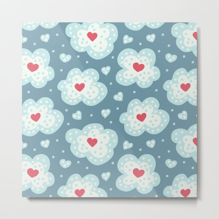 Winter Hearts And Snowy Clouds Metal Print