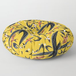 Swallows Martins and Swift pattern Yellow Floor Pillow