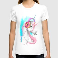 Unicorn in the headphones of donuts SMALL Womens Fitted Tee White