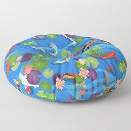 Japanese Koi Pond Pattern - Blue Floor Pillow