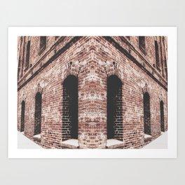 old brown brick building with windows Art Print