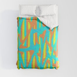 green blue orange yellow geometric line pattern painting abstract background Comforters