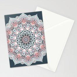 Expansion - boho mandala in soft salmon pink & blue Stationery Cards