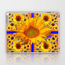 YELLOW SUNFLOWERS BLUE ART PATTERN Laptop & iPad Skin