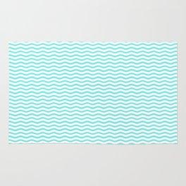 Aqua Belle and White Chevron Wave Wavy ZigZag Stripes Rug